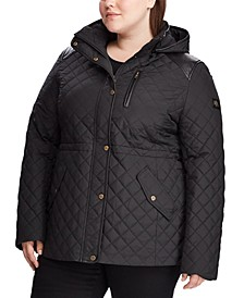 Plus-Size Quilted Hooded Coat, Created for Macy's
