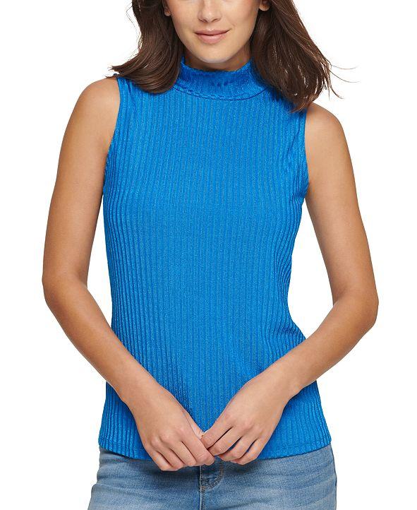 DKNY Sleeveless Ribbed Mock-Neck Top