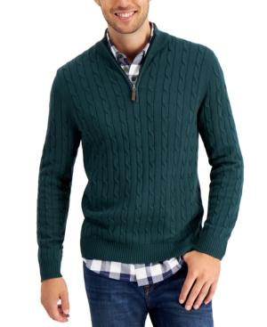 Men's Cable Knit Quarter-Zip Cotton Sweater