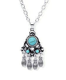 Simulated Turquoise Fine Silver Plated Round Chandelier Pendant Necklace