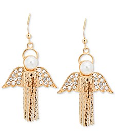 Gold-Tone Pavé & Imitation Pearl Chain-Fringe Angel Drop Earrings, Created for Macy's