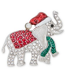 Silver-Tone Pavé & Imitation Pearl Elephant Pin, Created for Macy's