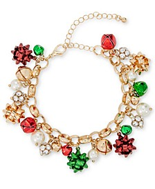 Tri-Tone Crystal, Imitation Pearl & Bow Jingle Bell Charm Bracelet, Created for Macy's