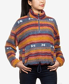 Juniors' Printed Sherpa Sweatshirt