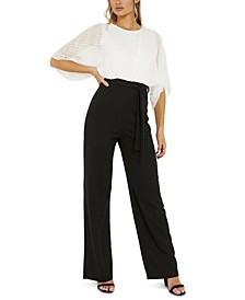 Two-Tone Sheer Sleeve Jumpsuit