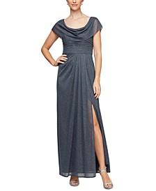 Cowlneck Glitter-Mesh Gown