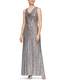 Cowlneck Sequin Gown