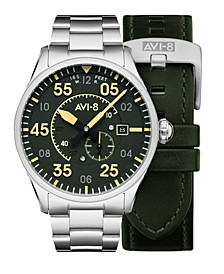 Men's Spitfire Silver-Tone Solid Stainless Steel Bracelet and Green Genuine Leather Strap Watch, 42mm