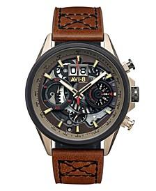 Men's Hawker Harrier II Brown Genuine Leather Strap Watch, 45mm