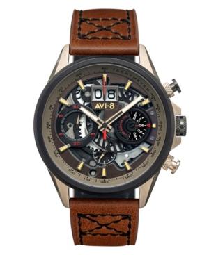 Men's Hawker Harrier Ii Brown Genuine Leather Strap Watch