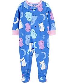 Baby Girl  1-Piece Owl Fleece Footie PJs
