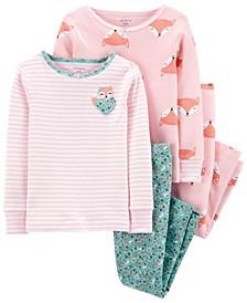 Baby Girl  4-Piece Fox Snug Fit Cotton PJs
