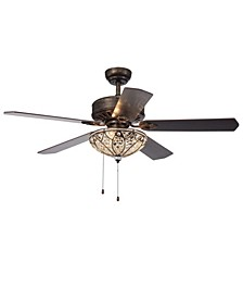"Gliska 52"" 3-Light Indoor Hand Pull Chain Ceiling Fan with Light Kit"