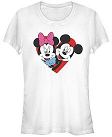 Women's Disney Mickey Classic Mickey Minnie Heart Short Sleeve T-shirt