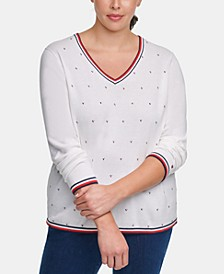 Plus Size Ivy Cotton Embellished Sweater