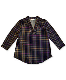Charter Club Pleated V-Neck Plaid Top, Created for Macy's