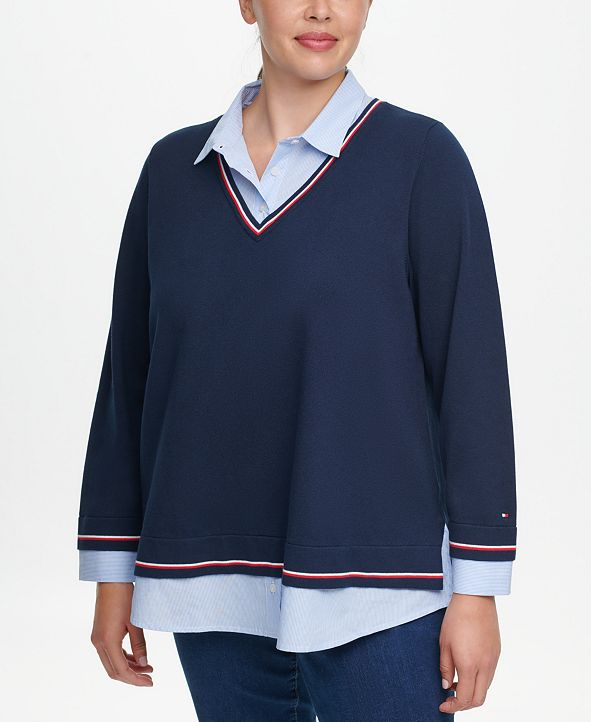 Tommy Hilfiger Plus Size Layered-Look Collared Sweater