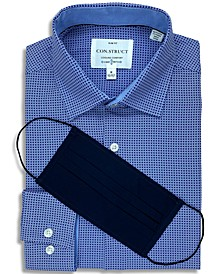 Receive a FREE Face Mask with purchase of the Con.Struct Men's Slim-Fit Non-Iron Performance Stretch White & Navy Geometric Cooling Comfort Dress Shirt