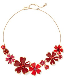 "Gold-Tone Stone Flower Cluster Statement Necklace, 17"" + 3"" extender"