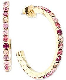 """Gold-Tone Medium Crystal Hoop Earrings, 1.5"""""""