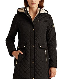 Diamond-Quilted Hooded Coat