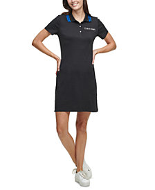 Calvin Klein Cotton Striped-Collar Shirtdress