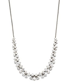 """Silver-Tone Cubic Zirconia Cluster Statement Necklace, 15"""" + 3"""" extender, Created for Macy's"""