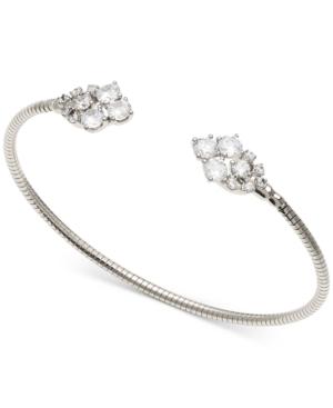 Cubic Zirconia Cluster Flexible Cuff Bracelet