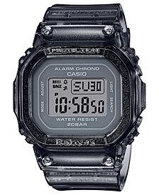 Baby-G Women's Digital Gray Jelly Strap Watch 40x40mm