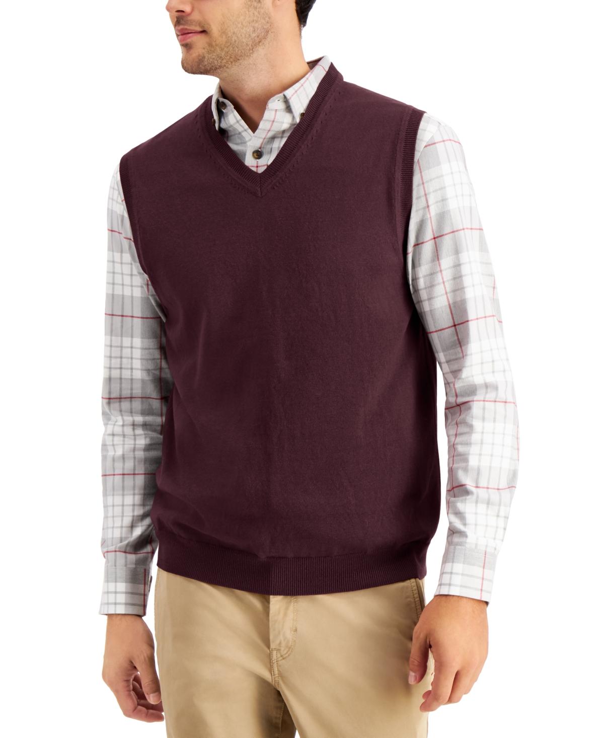 1940s Men's Clothing Club Room Mens Solid V-Neck Sweater Vest Created for Macys $16.93 AT vintagedancer.com