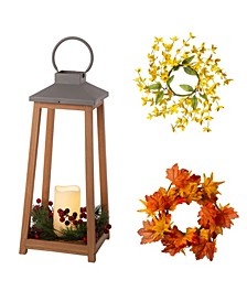 Wooden-Metal LED Pillar Lantern, with Changeable Wreathes Spring, Fall, Christmas