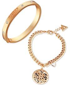 Gold-Tone 2-Pc. Set Crystal & Tan Faux-Leather Logo Bracelets