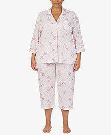 Plus Size Printed Capri Pants Pajama Set