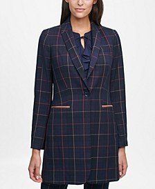 Elbow-Patch Plaid Jacket