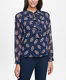 Ruffle-Front Printed Blouse