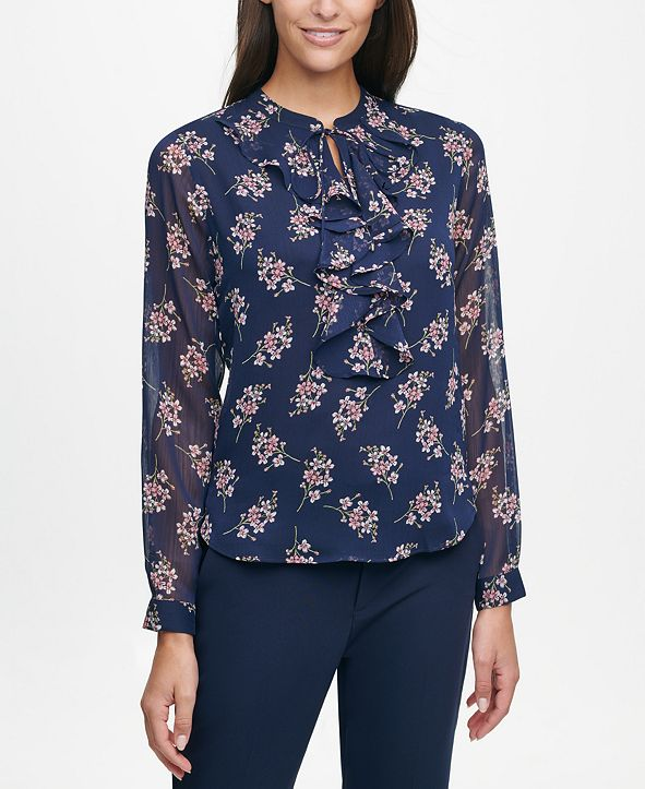 Tommy Hilfiger Ruffle-Front Printed Blouse