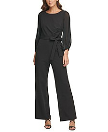 Pleated-Sleeve Jumpsuit