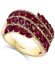 EFFY® Ruby (2-7/8 ct. t.w.) & Diamond (1/3 ct. t.w.) Multi-Row Statement Ring in 14k Gold
