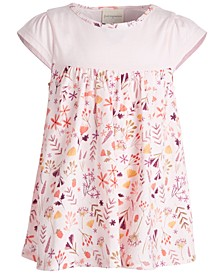 Baby Girls Short Sleeve Fox Floral Tunic, Created for Macy's
