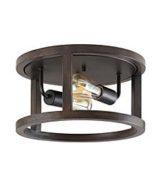 Atelier 2-Light Rustic Industrial LED Flush Mount