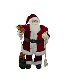 Traditional Santa Claus Christmas Figure with Naughty Nice List and Gift Bag