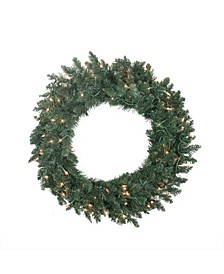 Pre-Lit Traditional Pine Artificial Christmas Wreath-Clear Lights