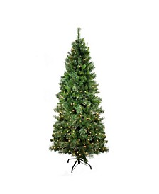 Pre-Lit Medium Mixed Cashmere Pine Artificial Christmas Tree-Clear Lights