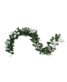 Poinsettia and Pine Cone Artificial Christmas Garland-Unlit