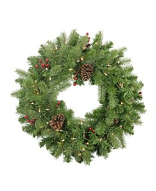 Pre-Lit Noble Fir with Berries and Pine Cones Artificial Christmas Wreath-Clear Lights