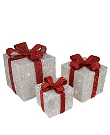 Tinsel Lighted Gi Boxes with Red Bows Outdoor Christmas Decorations