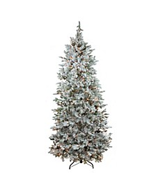 Pre-Lit Flocked Slim Colorado Spruce Artificial Christmas Tree