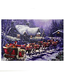 LED Lighted Santa and Reindeer Making Deliveries Christmas Canvas Wall Art