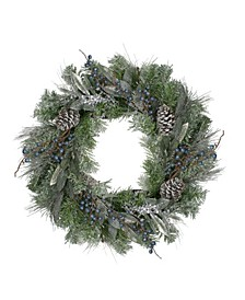 Unlit Mixed Pine and Blueberries Artificial Christmas Wreath