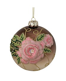 2-Finish and Floral Applique Glass Christmas Ball Ornament